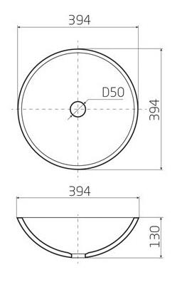 Чертеж круглой вклеиваемой раковины