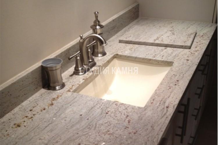 Столешница прямая из камня для ванной