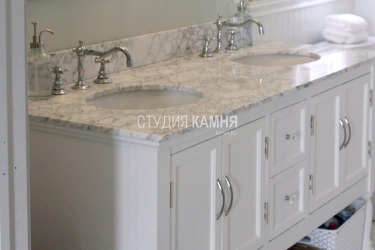 Столешница для ванной с двумя круглыми раковинами