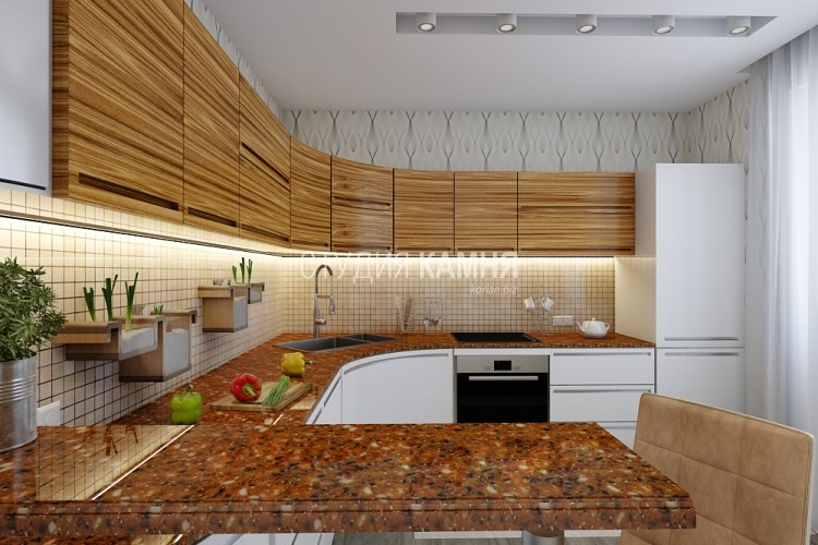 Коричневая барная стойка с вкраплениями для кухни из искусственного камня
