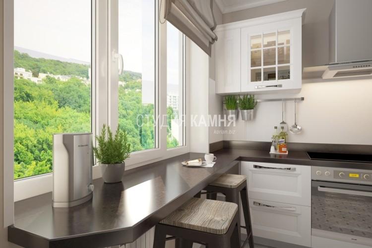 Барная стойка-подоконник для кухни из искусственного камня