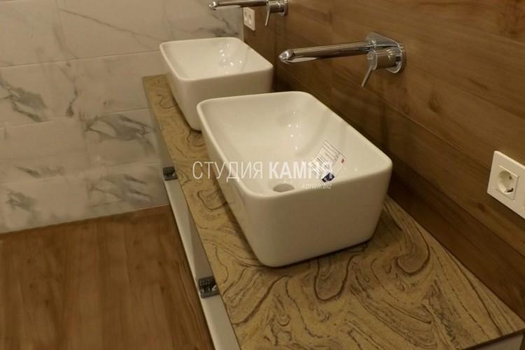 Столешница под дерево для ванной комнаты с двумя раковинами