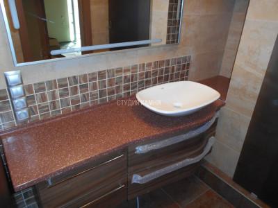 Фигурная столешница в ванну с раковиной